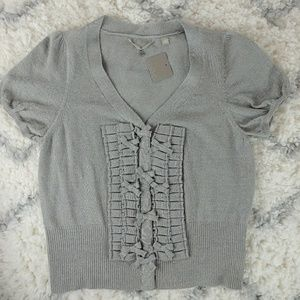 Knitted & Knotted Anthropologie gray bow cardigan
